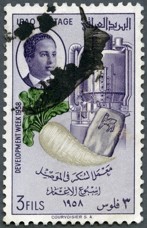 postage stamp: IRAQ - CIRCA 1958: A stamp printed in Iraq shows Sugar beet, bag and refining machinery, series Development Week, circa 1958