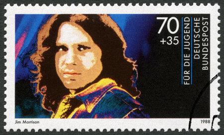 morrison: GERMANY - CIRCA 1988: A stamp printed in Germany shows James Douglas Jim Morrison (1943-1971), series Rock Stars, circa 1988 Editorial