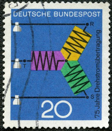 three phase: GEMANY - CIRCA 1966: A stamp printed in Germany dedicate 75th anniversary of three-phase power transmission, series Progress in science and technology, circa 1966 Editorial