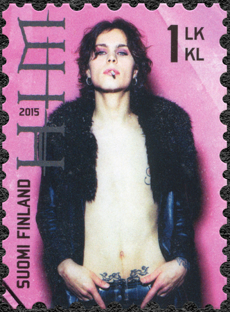 infernal: FINLAND - CIRCA 2015: A stamp printed in Finland shows HIM His Infernal Majesty, series Six internationally successful Finnish rock bands, circa 2015 Editorial