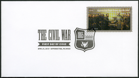 ulysses s  grant: UNITED STATES OF AMERICA - CIRCA 2015: A stamp printed in USA shows Robert E. Lees surrender to Ulysses S. Grant at Appomattox Court House on April 9, series The Civil War 1865, circa 2015