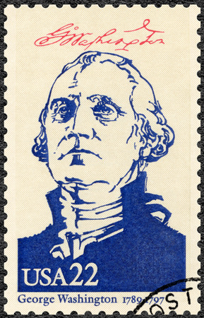 founding fathers: UNITED STATES OF AMERICA - CIRCA 1986: A stamp printed in USA shows portrait George Washington (1732-1799), series Presidents of USA, circa 1986