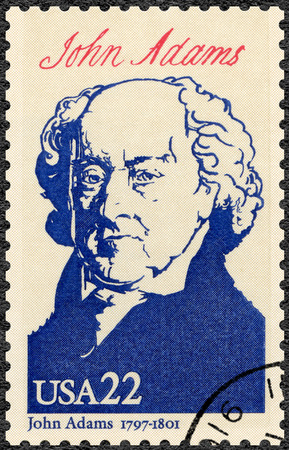 adams: UNITED STATES OF AMERICA - CIRCA 1986: A stamp printed in USA shows portrait John Adams (1735-1826),  second President, series Presidents of USA, circa 1986 Editorial