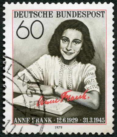 dramatist: GERMANY - CIRCA 1979: A stamp printed in Germany shows Annelies Marie Anne Frank (1929-1945), circa 1979