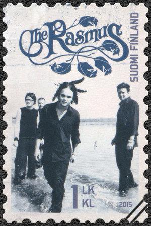 internationally: FINLAND - CIRCA 2015: A stamp printed in Finland shows The Rasmus, series Six internationally successful Finnish rock bands, circa 2015