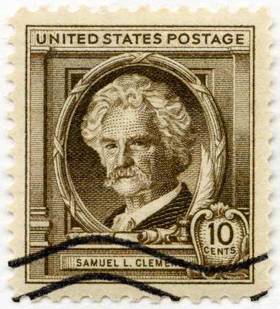 twain: UNITED STATES OF AMERICA - CIRCA 1940: A stamp printed in USA shows Samuel Langhorne Clemens  Mark Twain (1835-1910), Famous Americans Authors, circa 1940