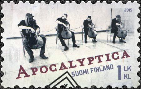 internationally: FINLAND - CIRCA 2015: A stamp printed in Finland shows Apocalyptica, series Six internationally successful Finnish rock bands, circa 2015