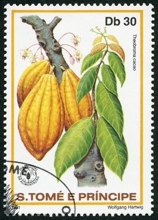 postage stamp: ST. THOMAS AND PRINCE ISLANDS - CIRCA 1981: A stamp printed in St.Thomas and Prince Islands shows  Theobroma cacao, series World Food Day, circa 1981