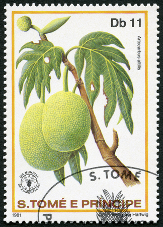 postage stamp: ST. THOMAS AND PRINCE ISLANDS - CIRCA 1981: A stamp printed in St.Thomas and Prince Islands shows  Artocarbus altilis, Breadfruit, series World Food Day, circa 1981 Editorial