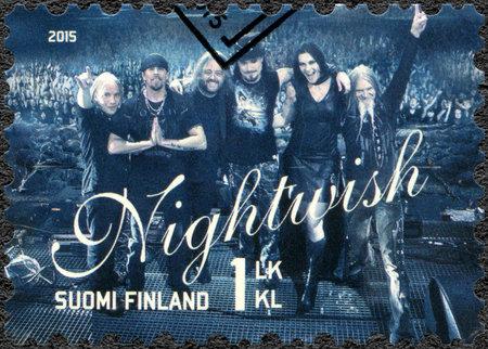 internationally: FINLAND - CIRCA 2015: A stamp printed in Finland shows Nightwish, series Six internationally successful Finnish rock bands, circa 2015