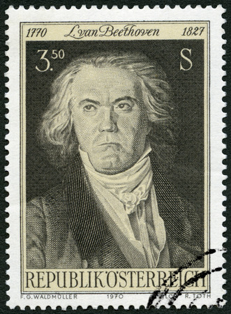 beethoven: AUSTRIA - CIRCA 1970: A stamp printed in Austria shows Ludwig van Beethoven (1770-1827), composer, circa 1970 Editorial