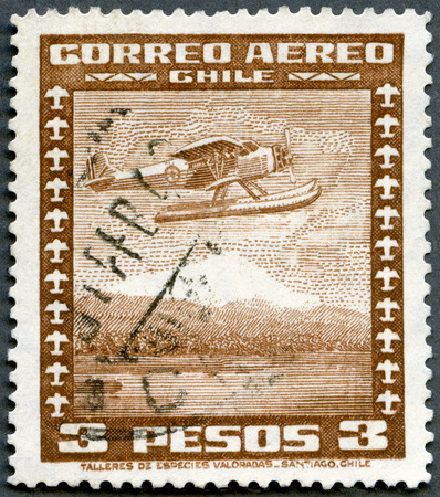 avia: CHILE - CIRCA 1931: A stamp printed in Chile shows Seaplane, series Airplane and symbols of space, circa 1931
