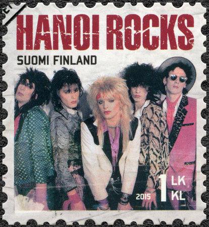 internationally: FINLAND - CIRCA 2015: A stamp printed in Finland shows Hanoi Rocks, series Six internationally successful Finnish rock bands, circa 2015 Editorial