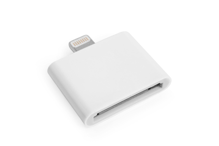 adapter: 30 pin to 8 pin adapter on white background