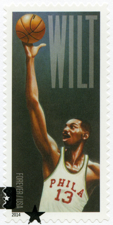 postmail: UNITED STATES OF AMERICA - CIRCA 2014: A stamp printed in USA shows Wilton Norman Wilt Chamberlain 1936-1999, basketball player, circa 2014 Editorial