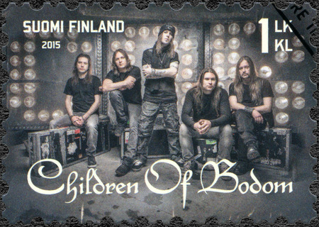internationally: FINLAND - CIRCA 2015: A stamp printed in Finland shows Children of Bodom, series Six internationally successful Finnish rock bands, circa 2015