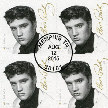 postmarked: UNITED STATES Of AMERICA - CIRCA 2015: A stamp printed in USA shows Elvis Presley (1935-1977), the singer, guitarist, musician, Music Icons Series, circa 2015