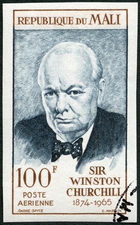 leonard: MALI - CIRCA 1965: A stamp printed in Republic of Mali shows Sir Winston Leonard Spencer Churchill (1874-1965), politician, circa 1965