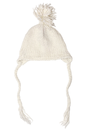 spliced: Warm woolen knitted hat for little girls isolated on white background Stock Photo