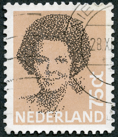 cancellation: NETHERLANDS - CIRCA 1981: A stamp printed in Netherlands shows Queen Beatrix, Black Vignette, circa 1981