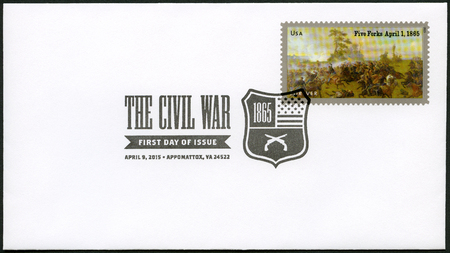 UNITED STATES OF AMERICA - CIRCA 2015: A stamp printed in USA shows the Battle of Five Forks, near Petersburg, Virginia, on April 1, 1865, series The Civil War 1865, circa 2015