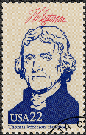 founding fathers: UNITED STATES OF AMERICA - CIRCA 1986: A stamp printed in USA shows portrait Thomas Jefferson (1743-1826), series Presidents of USA, circa 1986 Editorial