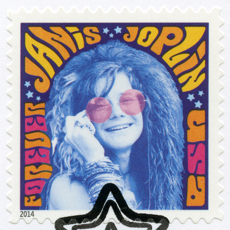 groundbreaking: USA - CIRCA 2014: A stamp printed in USA shows Janis Joplin (1943-1970), groundbreaking singer, series Music Icons, circa 2014