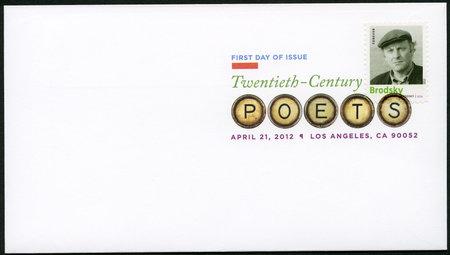 laureate: UNITED STATES OF AMERICA - CIRCA 2012: A stamp printed in USA shows Iosif (Joseph) Aleksandrovich Brodsky (1940-1996), poet and essayist, series Nobel Laureate in Literature, circa 2012 Editorial
