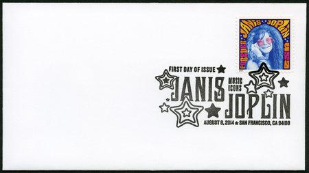 stardom: USA - CIRCA 2014: A stamp printed in USA shows Janis Joplin (1943-1970), groundbreaking singer, series Music Icons, circa 2014