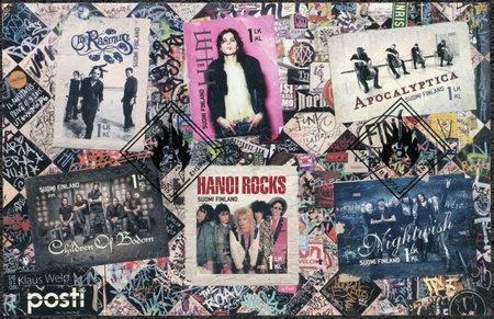 internationally: FINLAND - CIRCA 2015: A stamp printed in Finland shows Six internationally successful Finnish rock bands, circa 2015