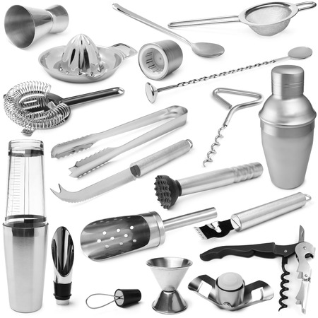 metal: Set of barman equipment on white background Stock Photo