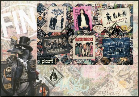 FINLAND - CIRCA 2015: A stamp printed in Finland shows Six internationally successful Finnish rock bands, circa 2015