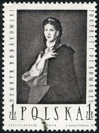 postage: POLAND - CIRCA 1959: A stamp printed in Poland shows Mme de Romanet by Henryk Rodakowski, circa 1959 Editorial