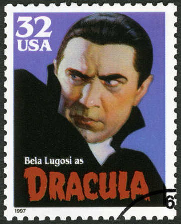 classic monster: UNITED STATES OF AMERICA - CIRCA 1997: A stamp printed in USA shows portrait of Bela Lugosi (1899-1980) as Dracula, series Classic Movie Monsters, circa 1997