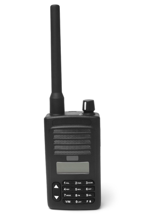 Portable radio transmitter on white background