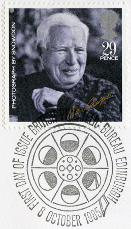 chaplin: GREAT BRITAIN - CIRCA 1985: A stamp printed in Great Britain, shows portrait of Charlie Chaplin (1889-1977), by Snowdon, series 20th Centenary Stars and Directors of Film, circa 1985