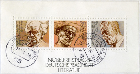 essayist: GEMANY - CIRCA 1992: A stamp printed in Germany, series German winners of Nobel Literature Prize, circa 1992