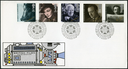 chaplin: GREAT BRITAIN - CIRCA 1985: A stamp printed in Great Britain shows Alfred Hitchcock, Peter Sellers, David Nive, Charlie Chaplin, Vivien Leigh, series Stars and Directors of Film, circa 1985 Editorial