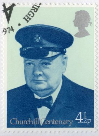 winston: UNITED KINGDOM - CIRCA 1974: A stamp printed in United Kingdom shows Sir Winston Spencer Churchill (1874-1965), Lord Warden of the Cinque Ports 1942, politician, circa 1974 Editorial