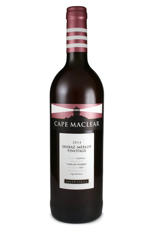 shiraz: ST. PETERSBURG, RUSSIA - September 13, 2015: Bottle of Cape Maclear, Shiraz, Merlot, Pinotage, South Africa, 2014
