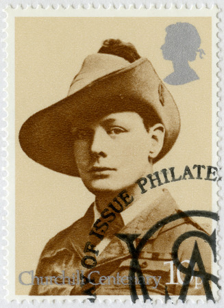 spencer: UNITED KINGDOM - CIRCA 1974: A stamp printed in United Kingdom shows Sir Winston Spencer Churchill (1874-1965), uniform of South African Light Horse Regiment 1899, politician, circa 1974 Editorial