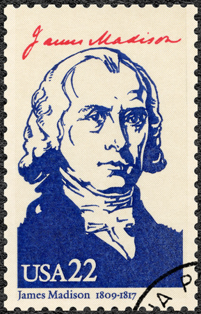 us constitution: UNITED STATES OF AMERICA - CIRCA 1986: A stamp printed in USA shows portrait James Madison Jr. (1751-1836), fourth President of the USA, series Presidents of USA, circa 1986