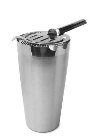 barware: Shaker with cocktail strainer on white background