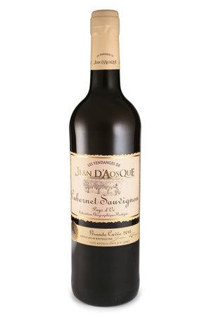 sauvignon: ST. PETERSBURG, RUSSIA - November 07, 2015: Bottle of Jean dAosque Cabernet Sauvignon, France, 2014