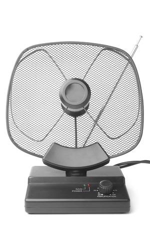 broadcast: TV antenna on white background Stock Photo