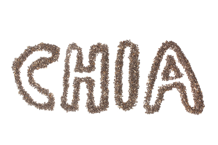protein crops: Inscription chia made from chia seeds on white background