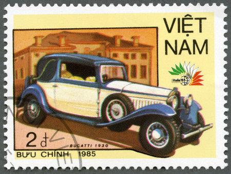 postmarked: VIETNAM - CIRCA 1985: A stamp printed in Vietnam shows Bugatti, 1930, series Vintage Italian cars, circa 1985 Editorial