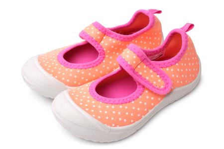 velcro: Baby girl shoes on white background Stock Photo