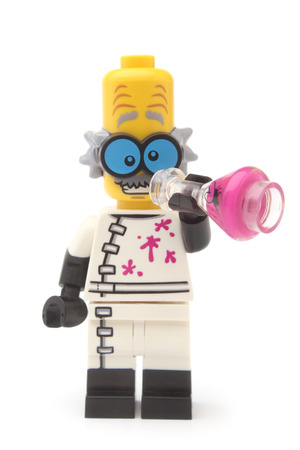 crazed: ST. PETERSBURG, RUSSIA - November 15, 2015: A studio shot of a Monster Scientist Lego minifigure, Lego is a line of plastic construction toys that are manufactured by The Lego Group