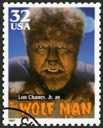 lon: UNITED STATES OF AMERICA - CIRCA 1997: A stamp printed by USA shows portrait of Creighton Tull Lon Chaney (1906-1973) as The Wolf Man, series Classic Movie Monsters, circa 1997